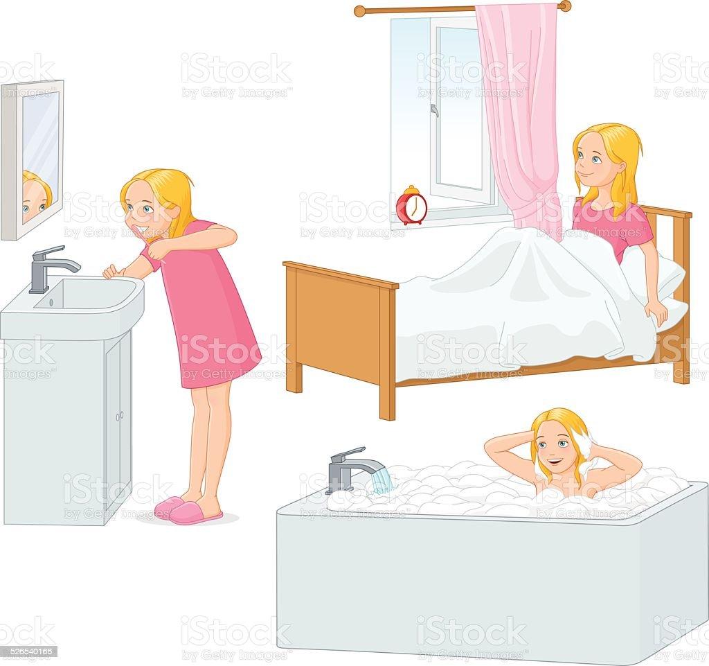 Girl doing her morning routine vector illustration. vector art illustration