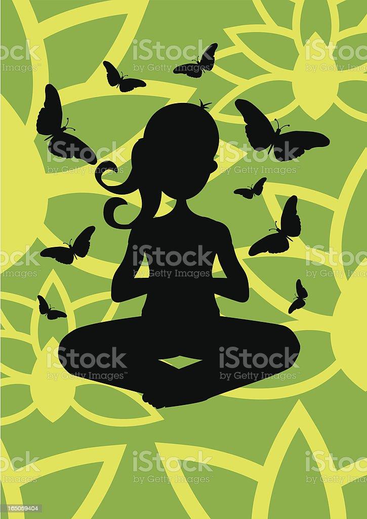 Girl doing Yoga (silhouette) - Meditation with Lotus & Butterflys vector art illustration
