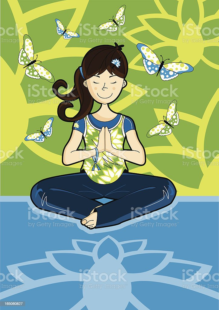 Girl doing Yoga - Meditation with Lotus & Butterflys royalty-free stock vector art