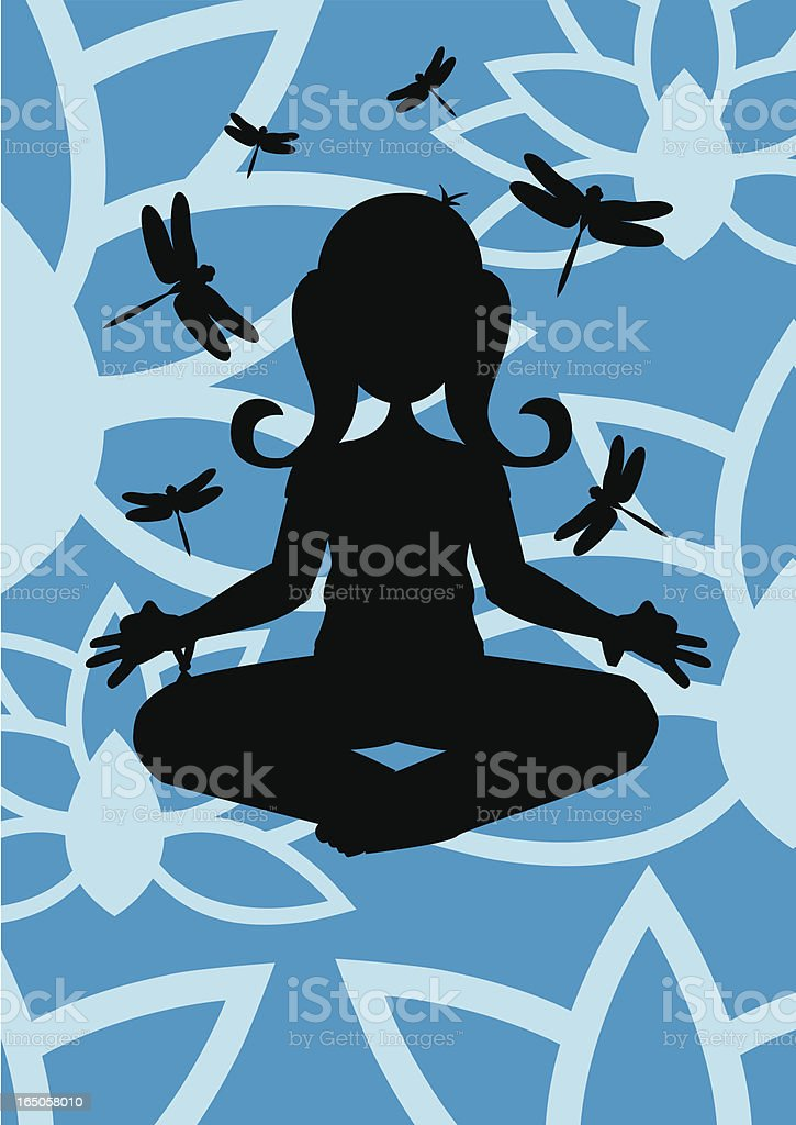 Girl doing Yoga (silhouette) - Meditation with Lotus & Dragonflys royalty-free stock vector art