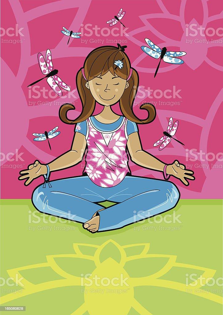 Girl doing Yoga - Meditation with Lotus & Dragonflys vector art illustration