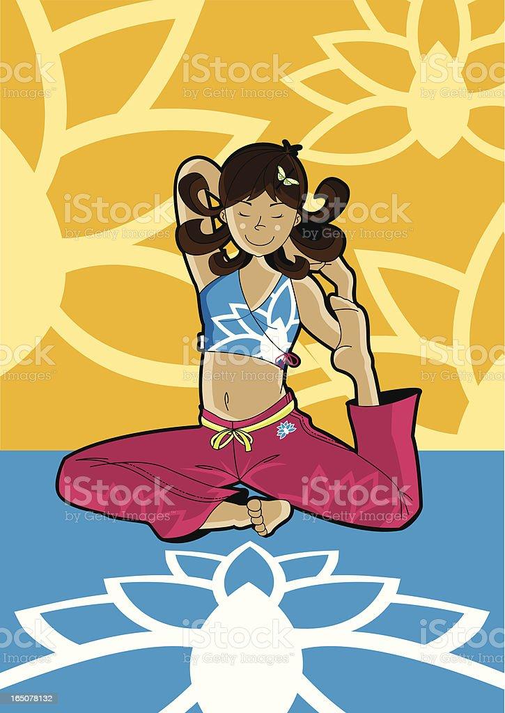 Girl doing Yoga - Meditation with Lotus Flower. vector art illustration