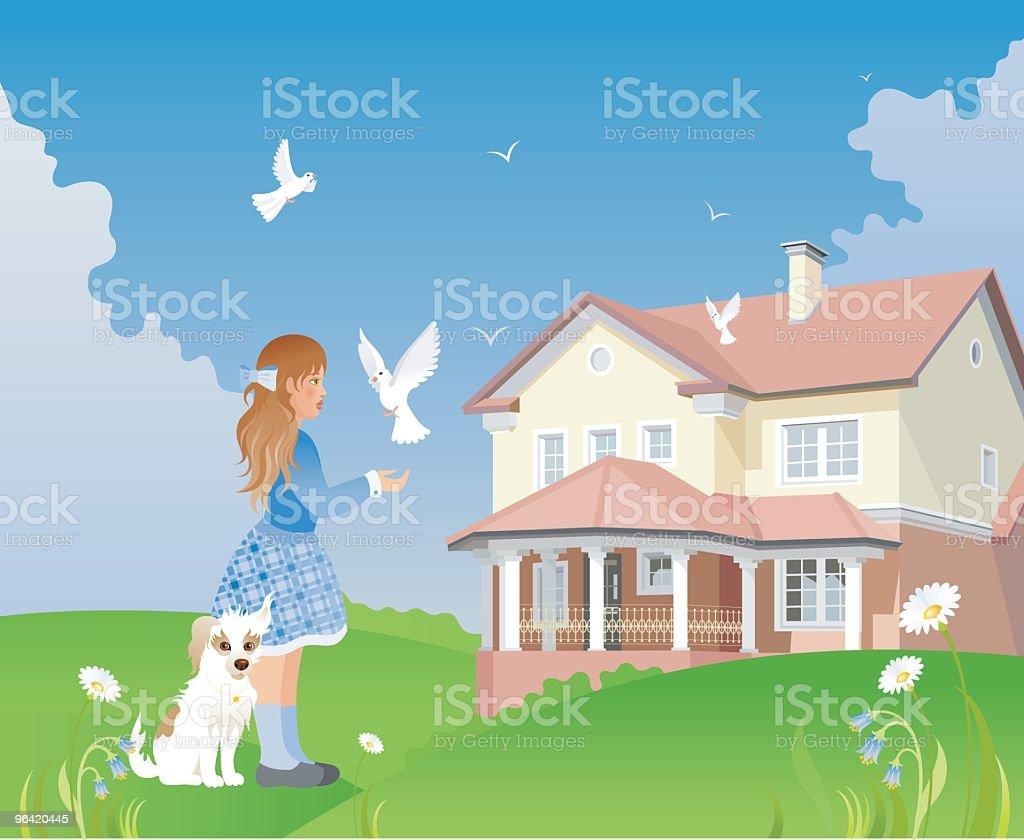 Girl, doves, dog, cottage vector art illustration