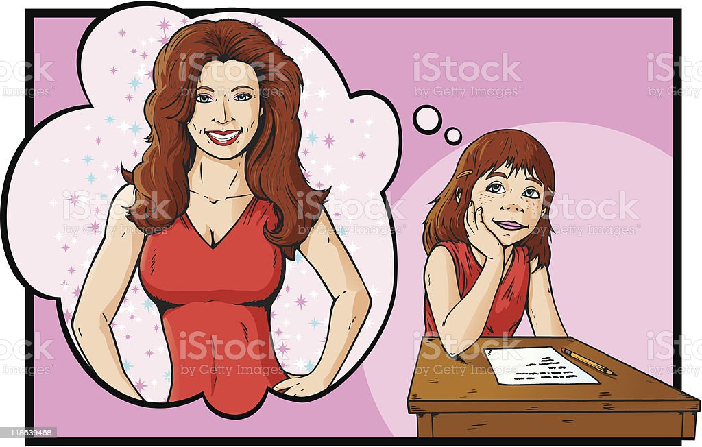 Girl dreaming of the woman she wants to be royalty-free stock vector art