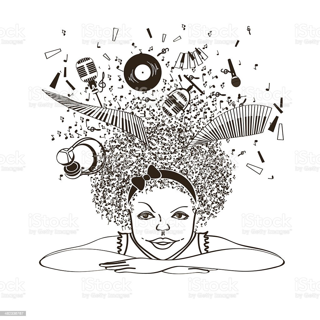 Girl dreaming to be a musician vector art illustration
