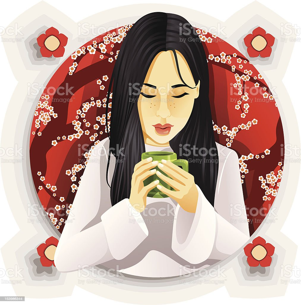 Girl Drinking Tea vector art illustration