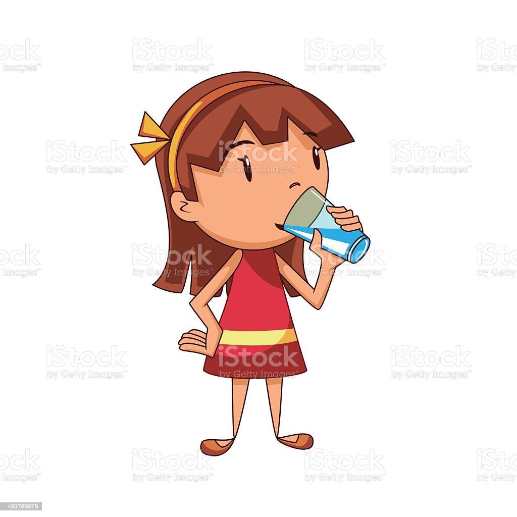 Girl drinking water vector art illustration