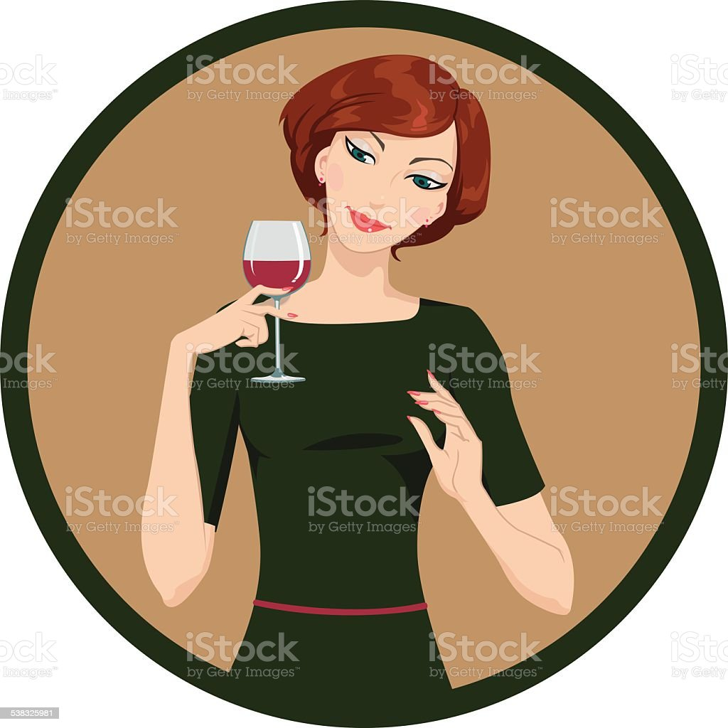 girl drinking white wine royalty-free stock vector art
