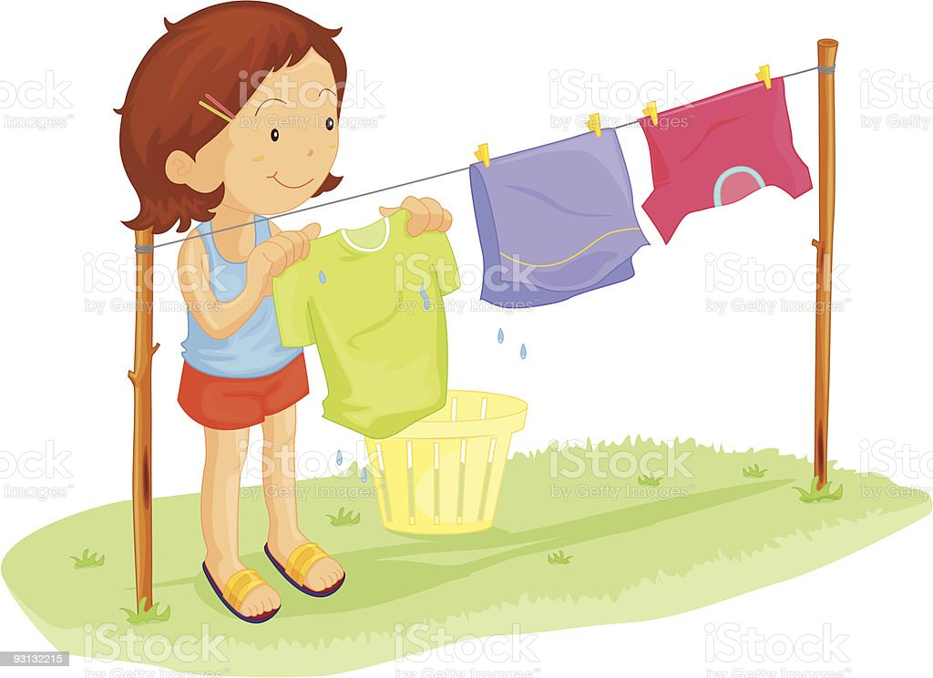 girl dry clothes royalty-free stock vector art
