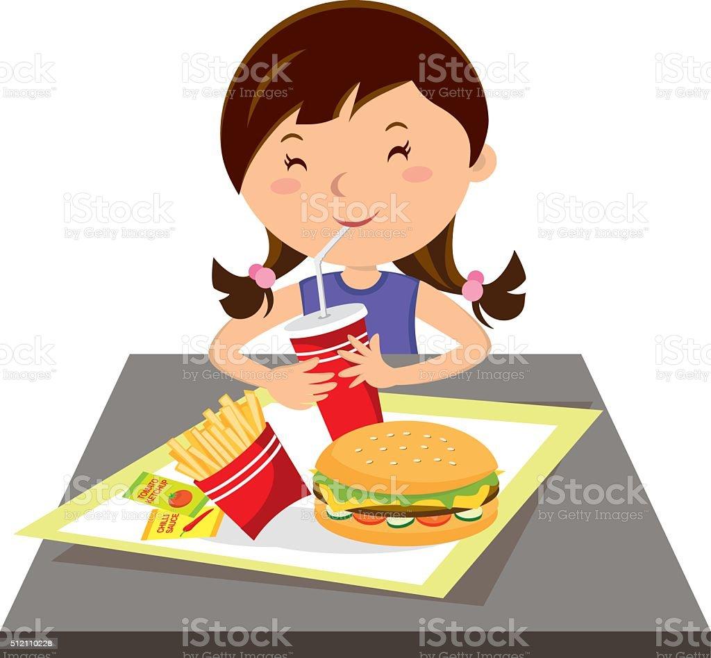 Girl eating fast food vector art illustration
