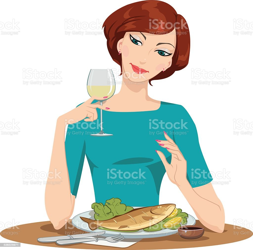 girl eating fish and drinking wine royalty-free stock vector art