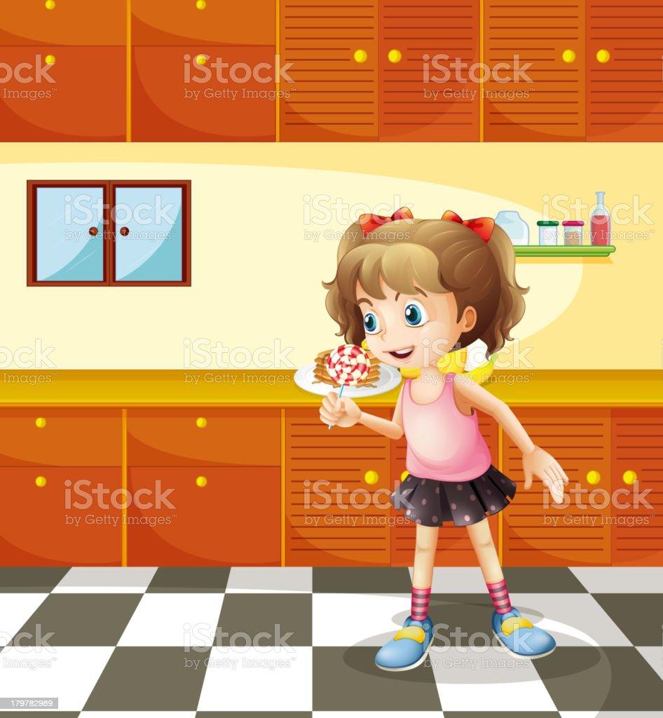 Girl eating lollipop royalty-free stock vector art