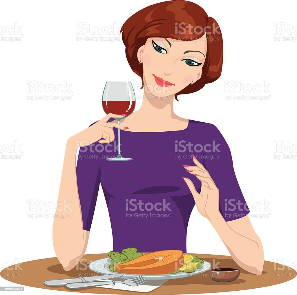 girl eating salmon Steak and drinking red wine royalty-free stock vector art