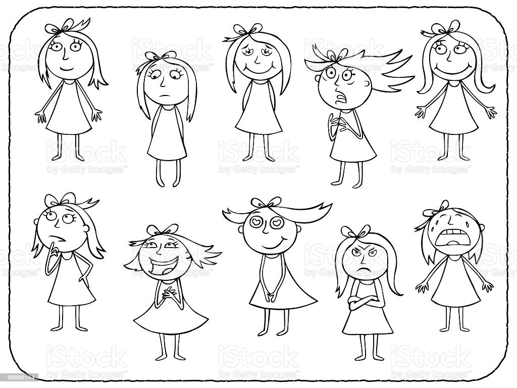 Girl emotions royalty-free stock vector art