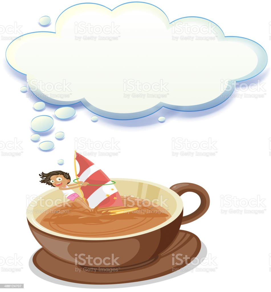 girl enjoying inside big cup of choco with empty callout royalty-free stock vector art