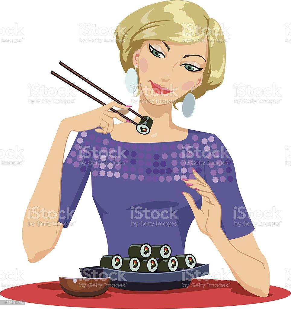 Girl Enjoying Sushi royalty-free stock vector art