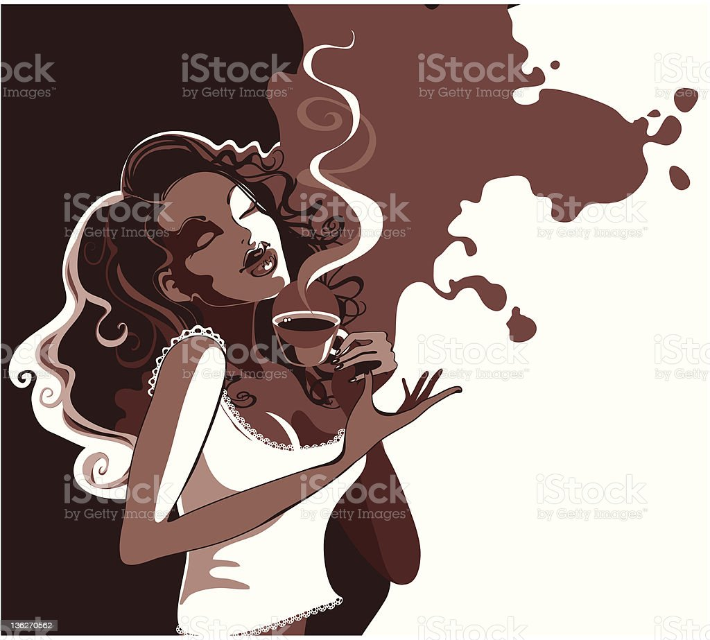 girl enjoys the coffee royalty-free stock vector art