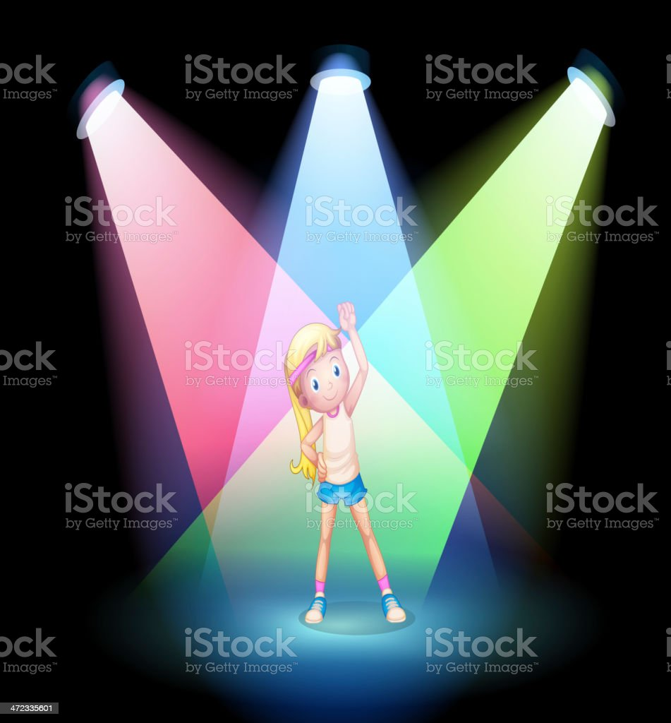 Girl exercising on the stage with spotlights vector art illustration