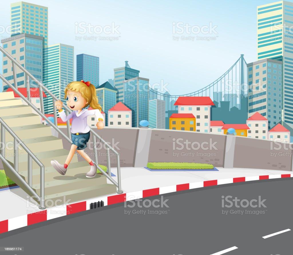 girl exercising outdoor royalty-free stock vector art