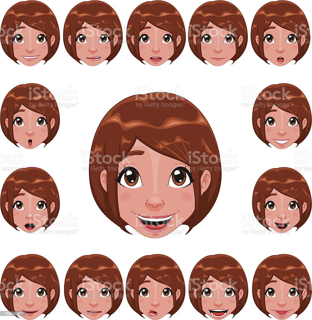 Girl expressions with lip sync. royalty-free stock vector art