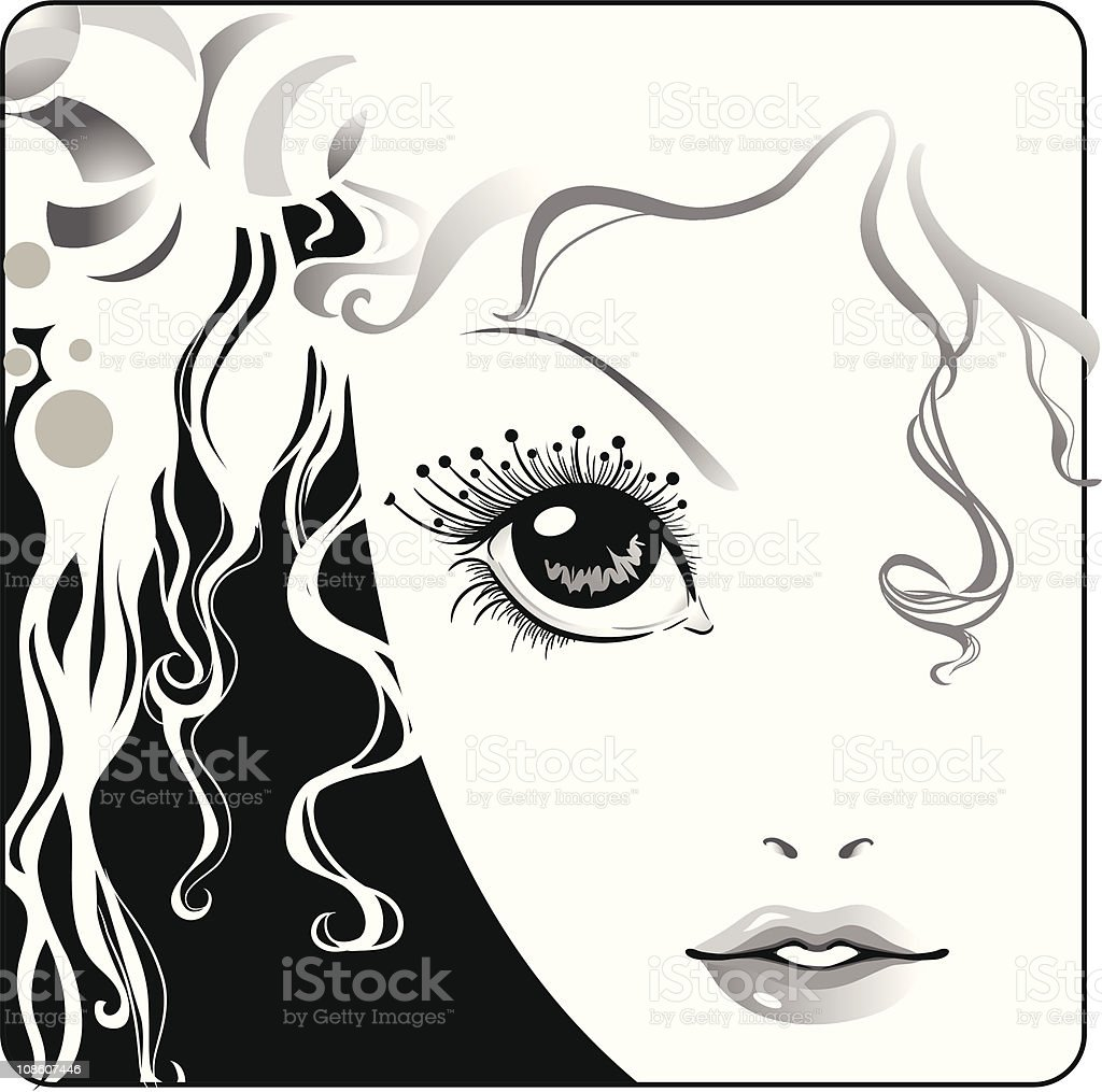 Girl face close up royalty-free stock vector art