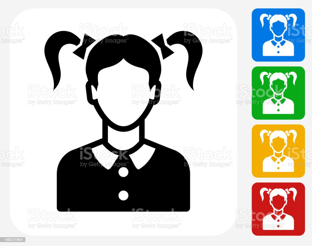 Girl Face Icon Flat Graphic Design vector art illustration