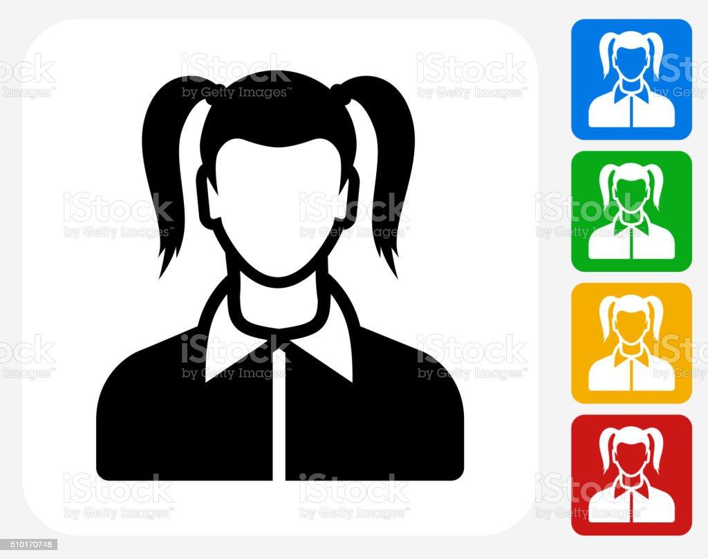 Girl Face Icon Flat Graphic Design vector art illustration