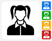 Girl Face Icon Flat Graphic Design