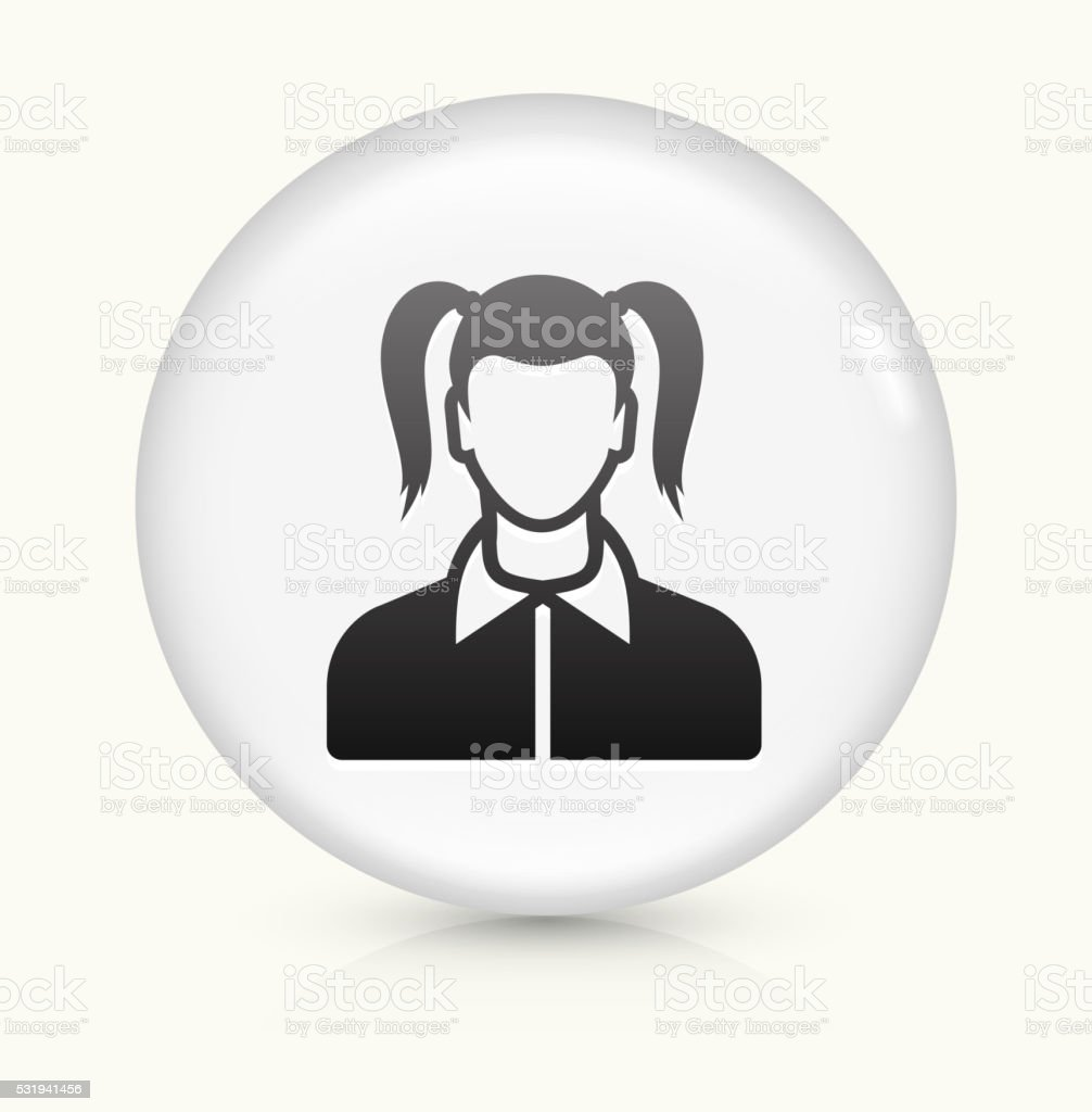 Girl Face icon on white round vector button vector art illustration