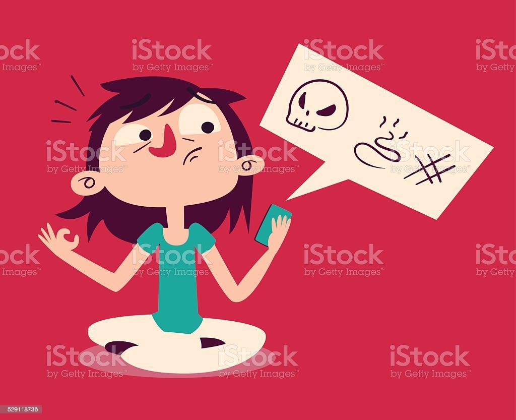 Girl Failing to Meditate Looking at Phone vector art illustration