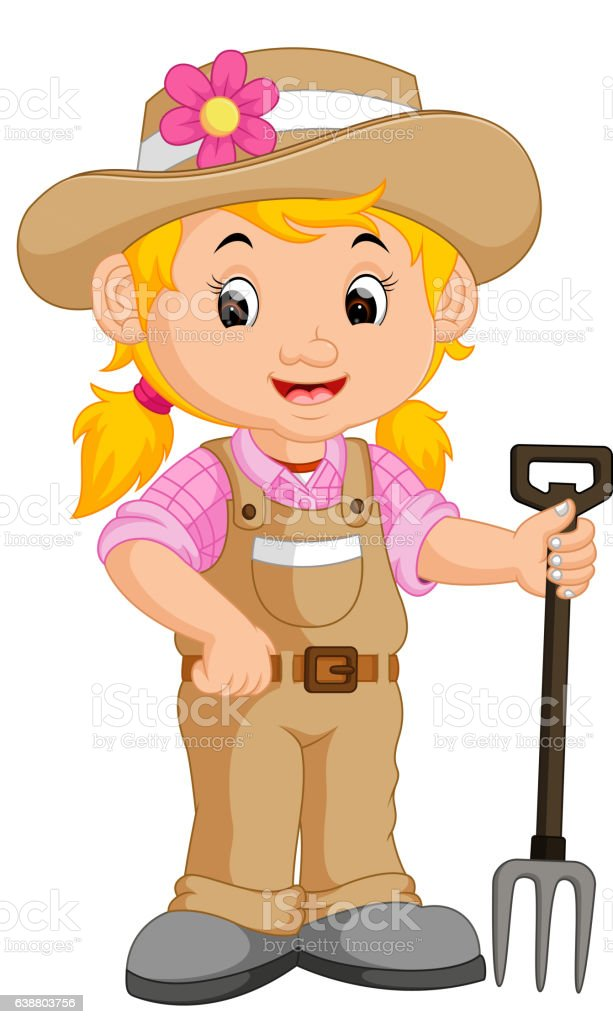 Girl Farmer Cartoon stock vector art 638803756 | iStock