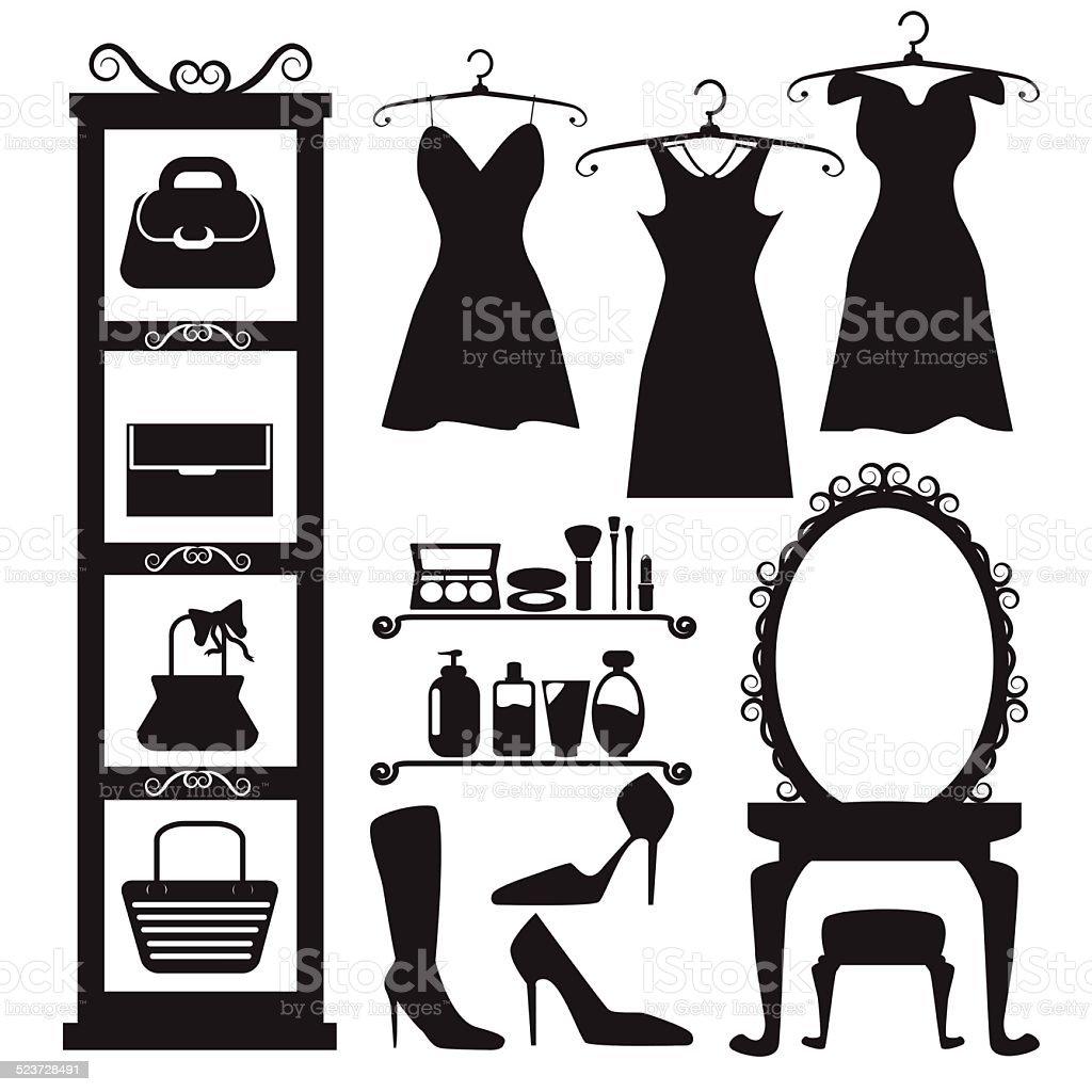 girl fashion backdrop vector art illustration