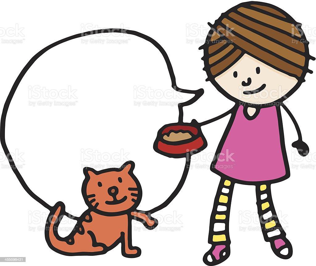 Girl feeding a cat vector art illustration
