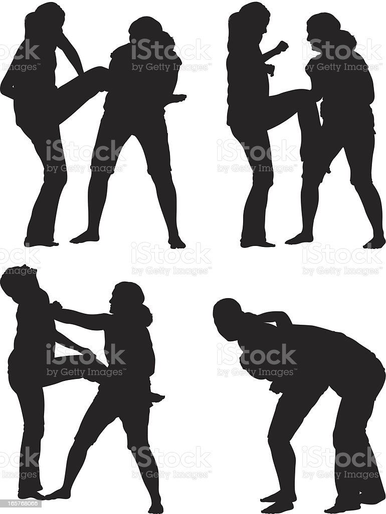 Girl fight young women fighting vector art illustration