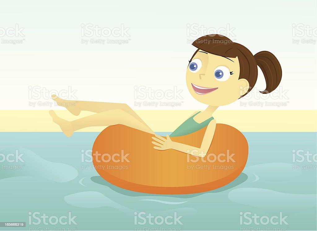 Girl Floating in an Inner Tube vector art illustration