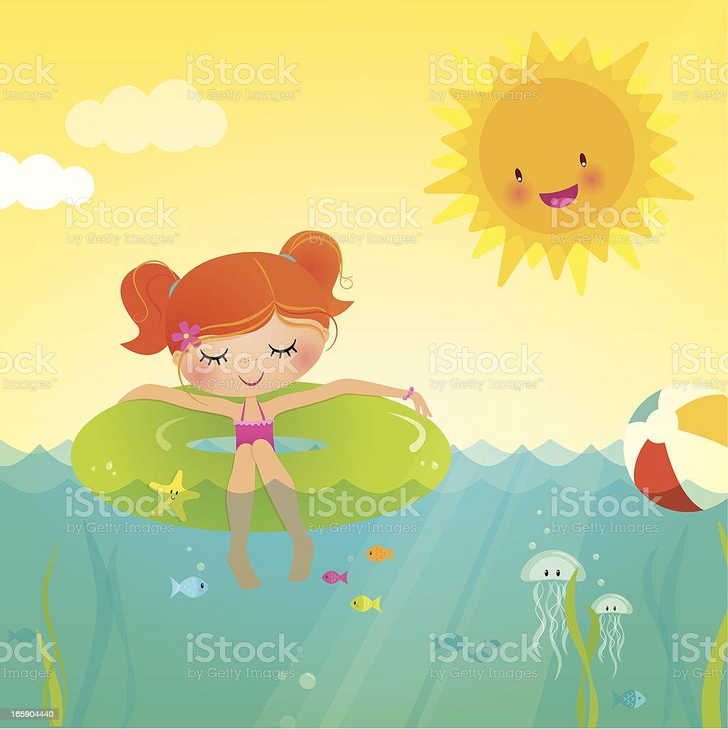 Girl floating in the ocean royalty-free stock vector art