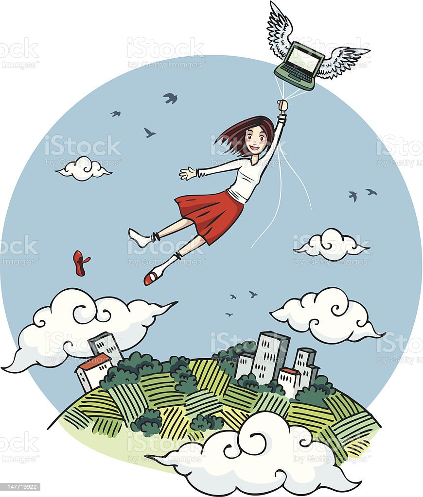 Girl flying carried by laptop royalty-free stock vector art