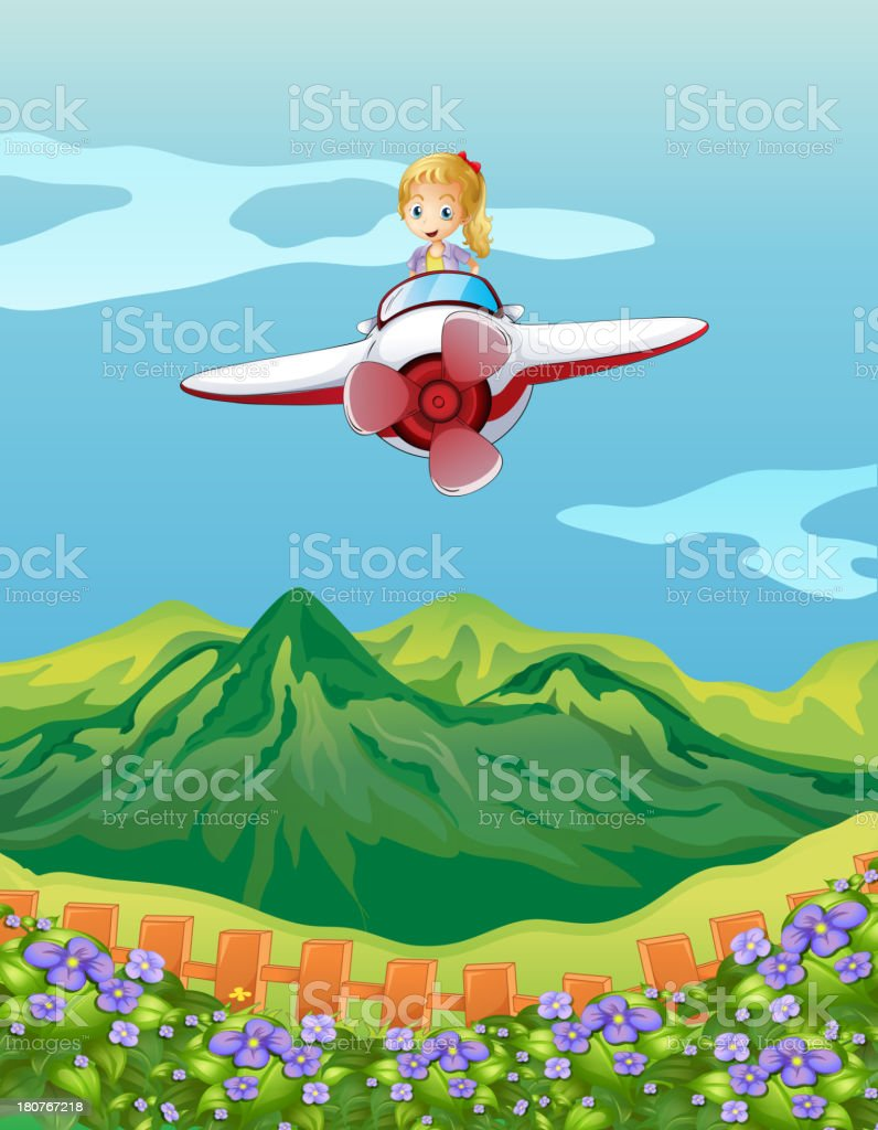 girl flying on a plane royalty-free stock vector art