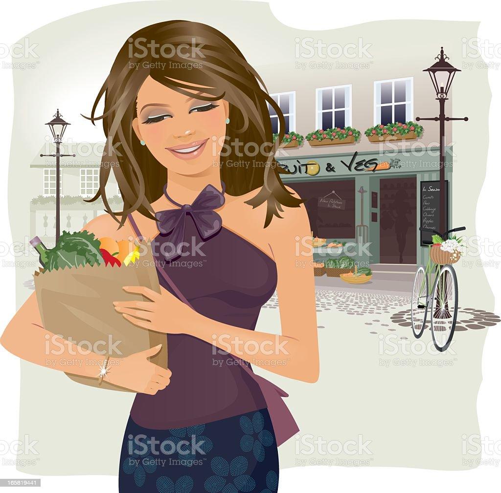 Girl Food Shopping royalty-free stock vector art