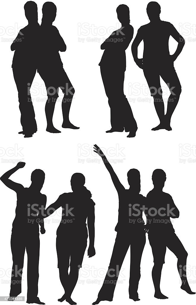 Girl friends posing together silhouettes vector art illustration