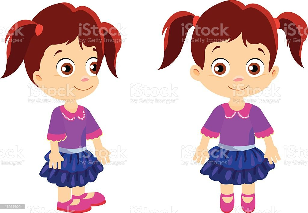 Girl front and side vector art illustration