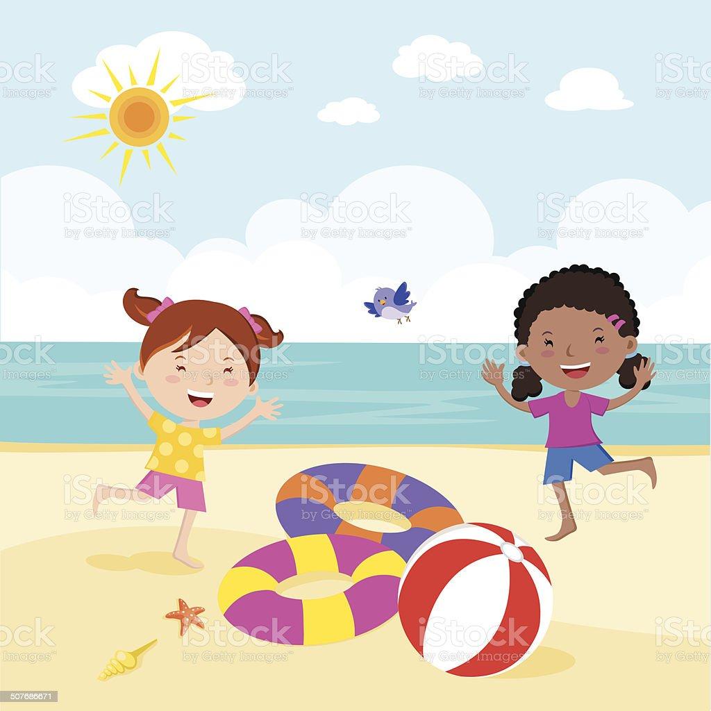 Girl fun in the sun vector art illustration
