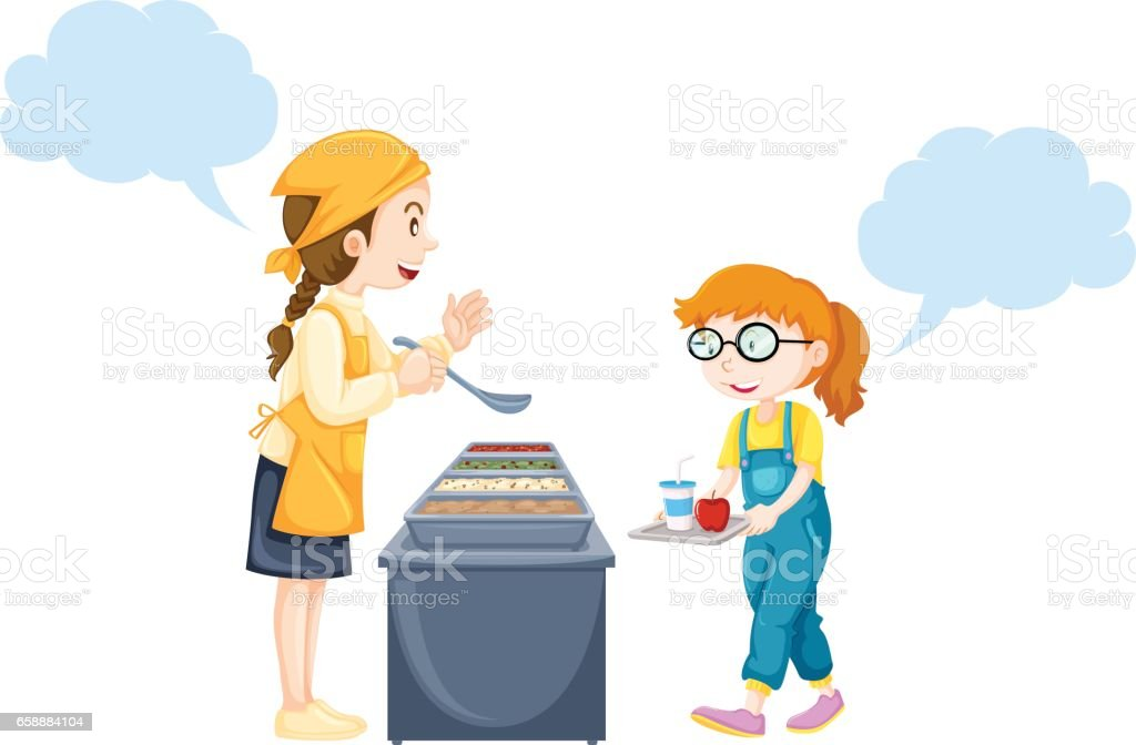 Girl getting food from woman in canteen vector art illustration