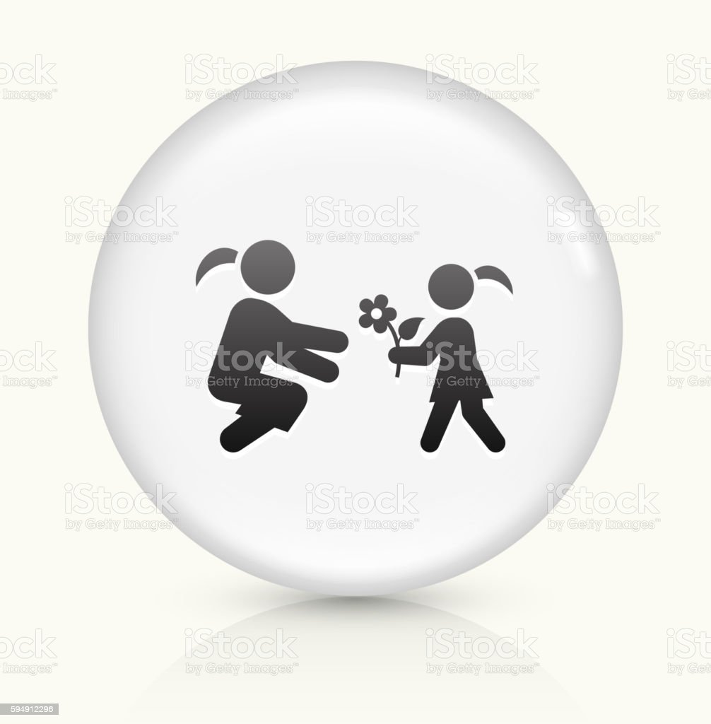 Girl Giving Flowers icon on white round vector button vector art illustration