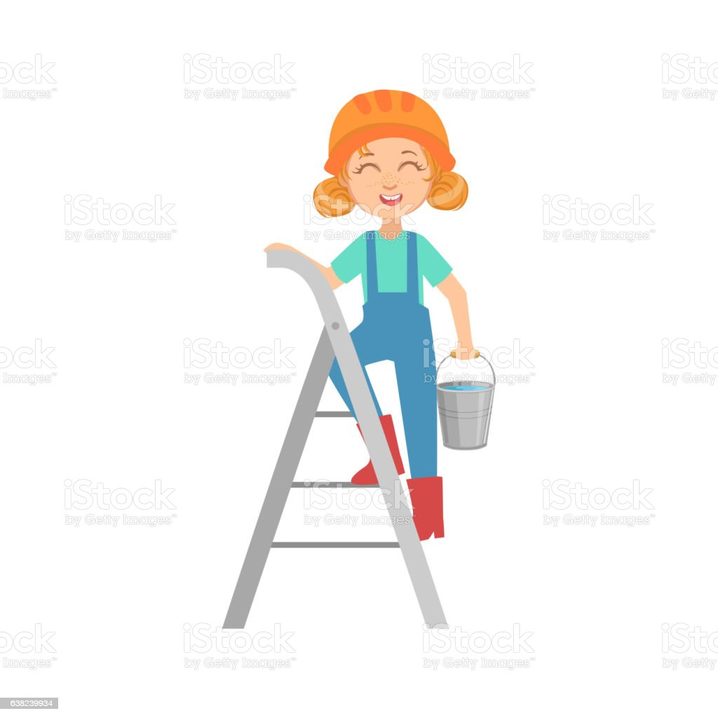 girl going up the ladder the bucket kid dressed stock vector girl going up the ladder the bucket kid dressed royalty stock vector