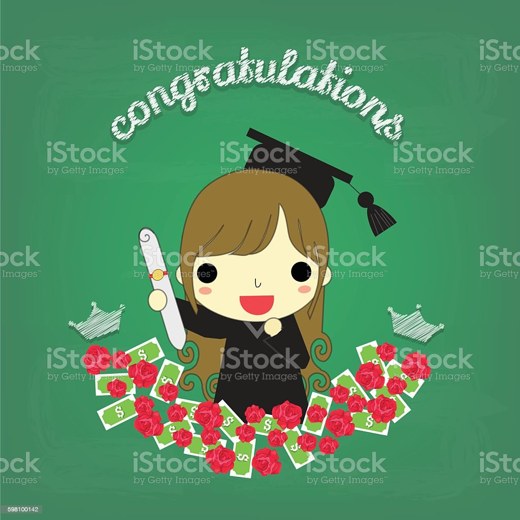 girl graduate with flower and money on board vector art illustration