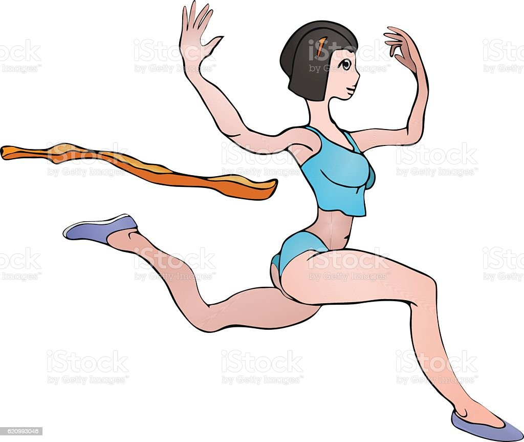 Girl gymnast runs vector art illustration