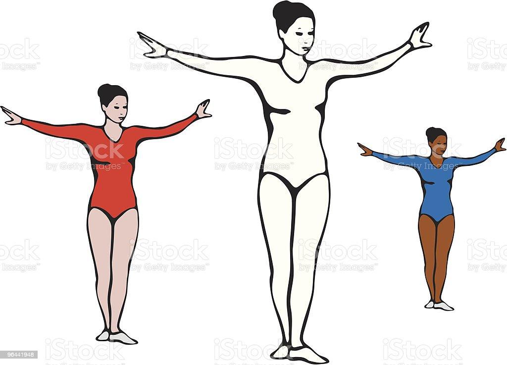Girl Gymnasts practicing balance vector art illustration