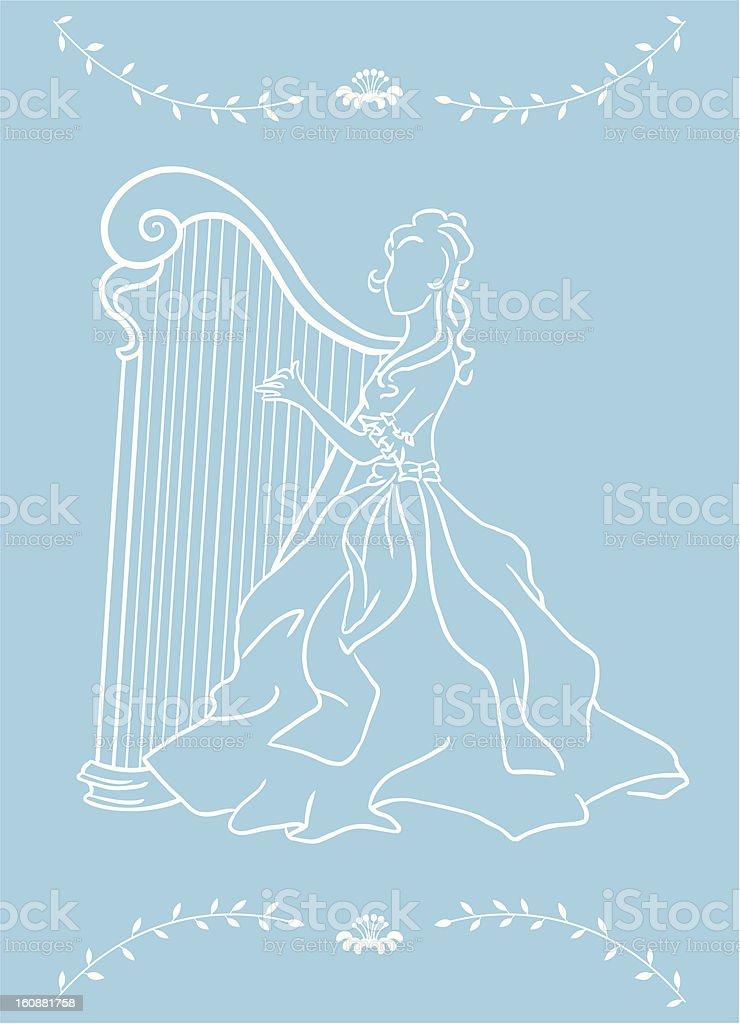 Girl & harp vector art illustration