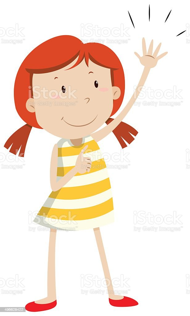 Girl having left arm up vector art illustration